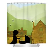 Childhood Dreams The Pram Shower Curtain by John Edwards