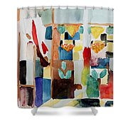 Children At The Greengrocers I Shower Curtain by Franz Marc