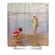 Children On The Beach Shower Curtain by Charles-Garabed Atamian
