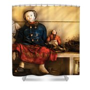 Children - Toys - Assorted Dolls Shower Curtain by Mike Savad