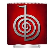 Cho Ku Rei - Silver On Red Reiki Usui Symbol Shower Curtain by Cristina-Velina Ion
