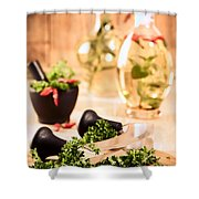 Chopping Herbs Shower Curtain by Amanda And Christopher Elwell