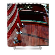 Chris Craft With Flag And Steering Wheel Shower Curtain by Michelle Calkins