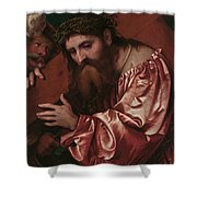 Christ Carrying The Cross Shower Curtain by Girolamo Romanino