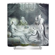 Christ In The House Of Martha And Mary Or The Penitent Magdalene Shower Curtain by William Blake