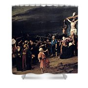 Christ On The Cross Shower Curtain by Mihaly Munkacsy