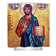 Christ The Pantocrator Shower Curtain by Ryszard Sleczka
