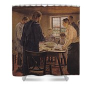 Christ with the Peasants Shower Curtain by Fritz von Uhde