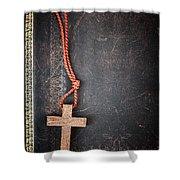 Christian Cross On Bible Shower Curtain by Elena Elisseeva