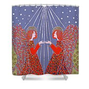 Christmas 77 Shower Curtain by Gillian Lawson
