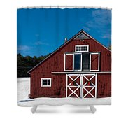 Christmas Barn Shower Curtain by Edward Fielding