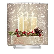 Christmas Candles Shower Curtain by Amanda And Christopher Elwell