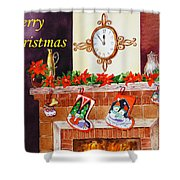 Christmas Card Shower Curtain by Irina Sztukowski