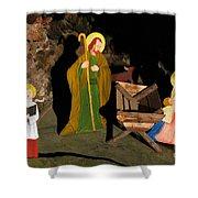 Christmas Crib Scene Shower Curtain by Gaspar Avila