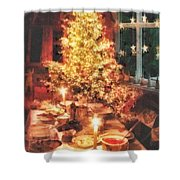Christmas Eve Shower Curtain by Mo T