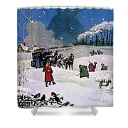 Christmas Scene Shower Curtain by English School