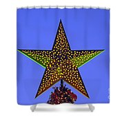 Christmas star during dusk time Shower Curtain by George Atsametakis