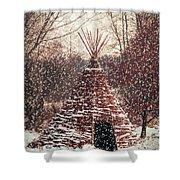 Christmas Tent Shower Curtain by Wim Lanclus