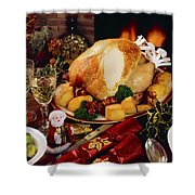 Christmas Turkey Dinner With Wine Shower Curtain by The Irish Image Collection