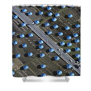 Christo Umbrellas In Japan Shower Curtain by Georg Gerster