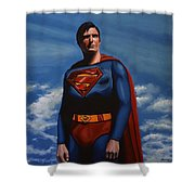 Christopher Reeve As Superman Shower Curtain by Paul Meijering