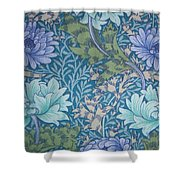 Chrysanthemums In Blue Shower Curtain by William Morris