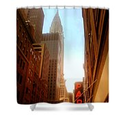Chrysler Building Rises Above New York City Canyons Shower Curtain by Miriam Danar