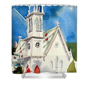 Church With Jet Contrail Shower Curtain by Kip DeVore