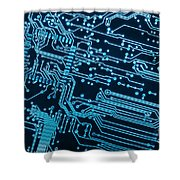 Circuit Board Shower Curtain by Carlos Caetano