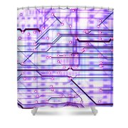 Circuit Trace Shower Curtain by Jerry McElroy