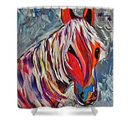 Cisco Abstract Horse  Shower Curtain by Janice Rae Pariza