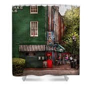 City - Baltimore - Fells Point Md - Bertha's And The Greene Turtle  Shower Curtain by Mike Savad