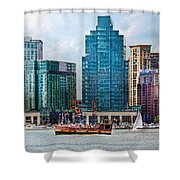 City - Baltimore MD - Harbor east  Shower Curtain by Mike Savad