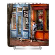 City - Baltimore Md - Waiting By Joe's Bike Shop  Shower Curtain by Mike Savad