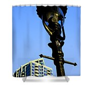 City Lamp Post Shower Curtain by Karol Livote