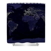 City Lights Shower Curtain by Sebastian Musial