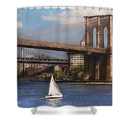 City - NY - Sailing under the Brooklyn Bridge Shower Curtain by Mike Savad