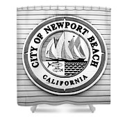 City Of Newport Beach Sign Black And White Picture Shower Curtain by Paul Velgos