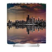 City Skyline Dusk Shower Curtain by Bedros Awak