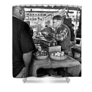 City - South Street Seaport - New Amsterdam Market - Apples And Mustard Shower Curtain by Mike Savad