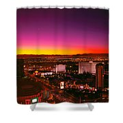 City - Vegas - NY - Sunrise over the city Shower Curtain by Mike Savad