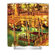 City - Vegas - Venetian - The Venetian At Night Shower Curtain by Mike Savad