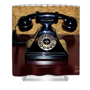 Classic Rotary Dial Telephone Shower Curtain by Mariola Bitner