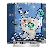 Clean Tooth Shower Curtain by Anthony Falbo