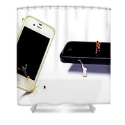 Cleaning The Iphones Little People Big Worlds Shower Curtain by Paul Ge