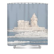 Cleveland Harbor West Pierhead Light II Shower Curtain by Clarence Holmes