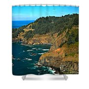 Cliffs At Cape Foulweather Shower Curtain by Adam Jewell
