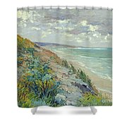 Cliffs By The Sea At Trouville  Shower Curtain by Gustave Caillebotte