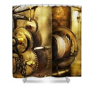 Clockmaker - We All Mesh Shower Curtain by Mike Savad