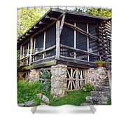 Closer View Of The Cabin Shower Curtain by Robert Margetts